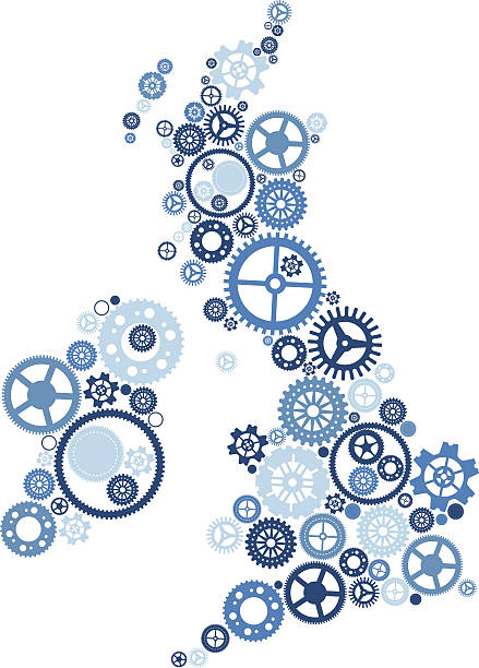 United Kingdom of Cogs and Gears vector art illustration