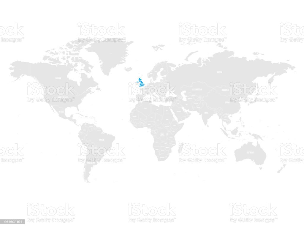 United Kingdom On The World Map.United Kingdom Of Great Britain And Northern Ireland Marked By Blue