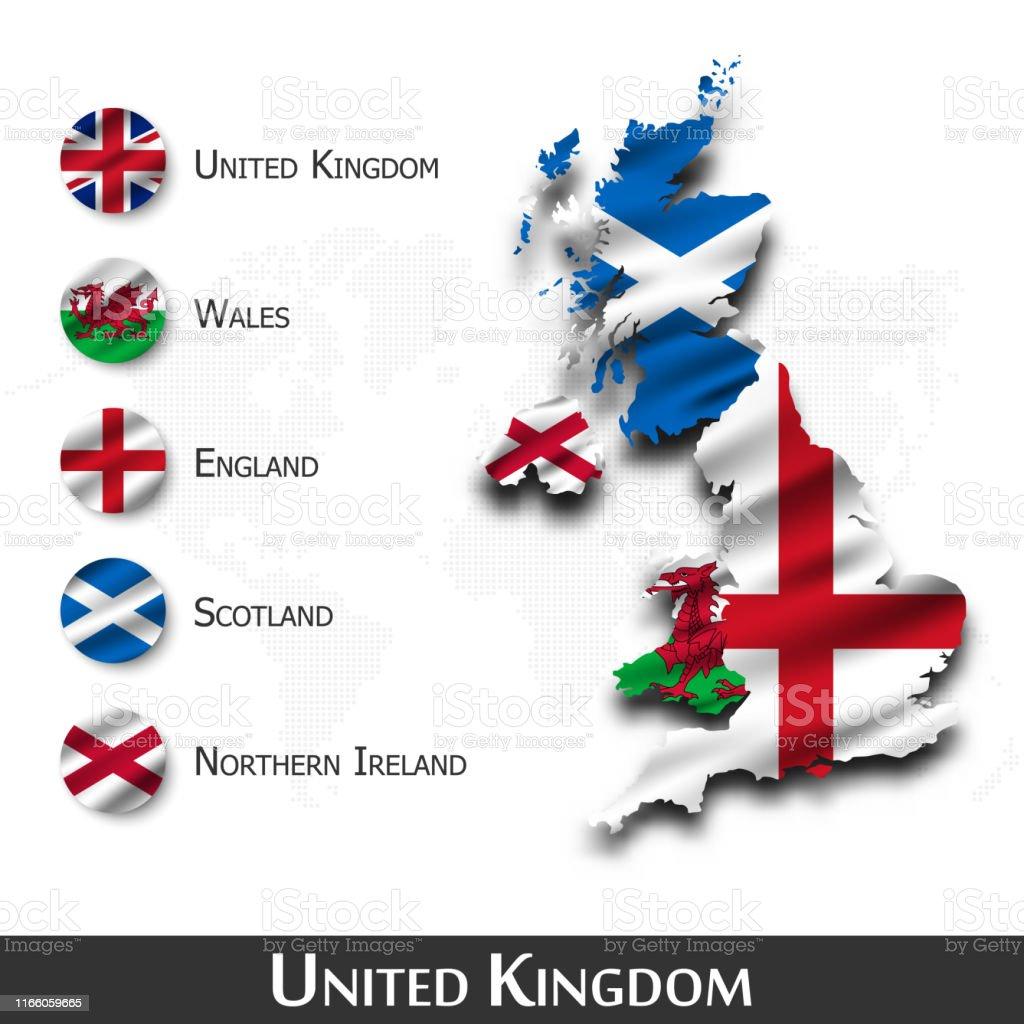Cartina Geografica Inghilterra E Scozia.Regno Unito Di Grande Gran Bretagna Mappa E Bandiera Waving Disegno Tessile Sfondo Della Mappa Del Mondo Punto Vettore Immagini Vettoriali Stock E Altre Immagini Di Bandiera Istock