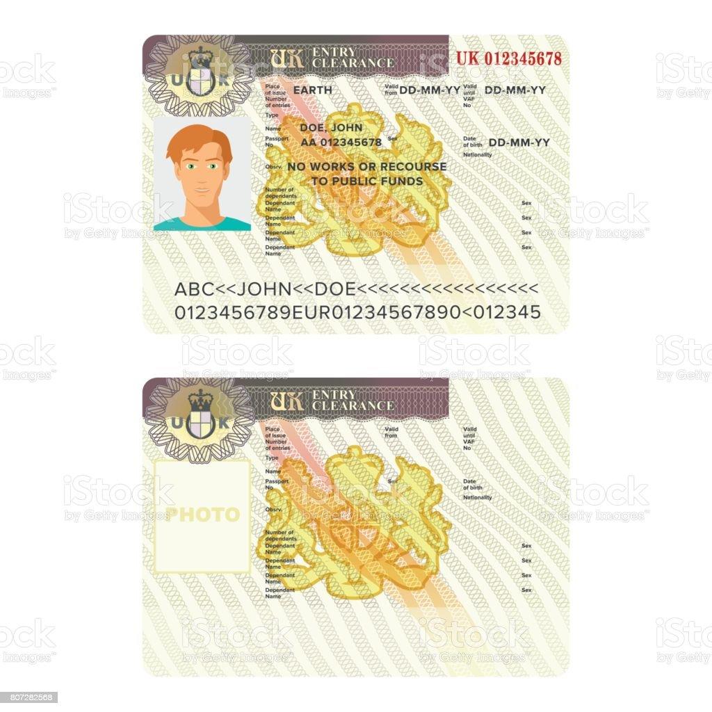 Großbritannien Oder England Visum Reisepass Aufkleber Vorlagen Stock ...
