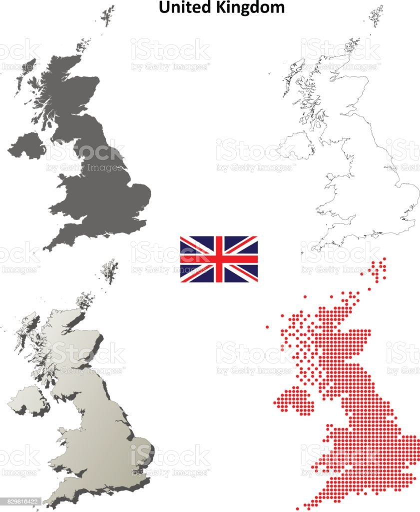 United Kingdom outline map set vector art illustration