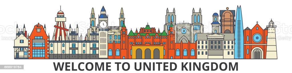 United Kingdom outline skyline, british flat thin line icons, landmarks, illustrations. United Kingdom cityscape, british travel city vector banner. Urban silhouette vector art illustration