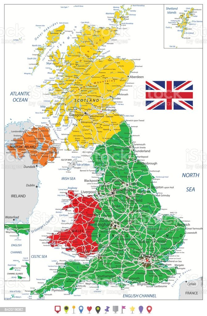 United Kingdom Political Map And Flat Map Pointers With Roads And