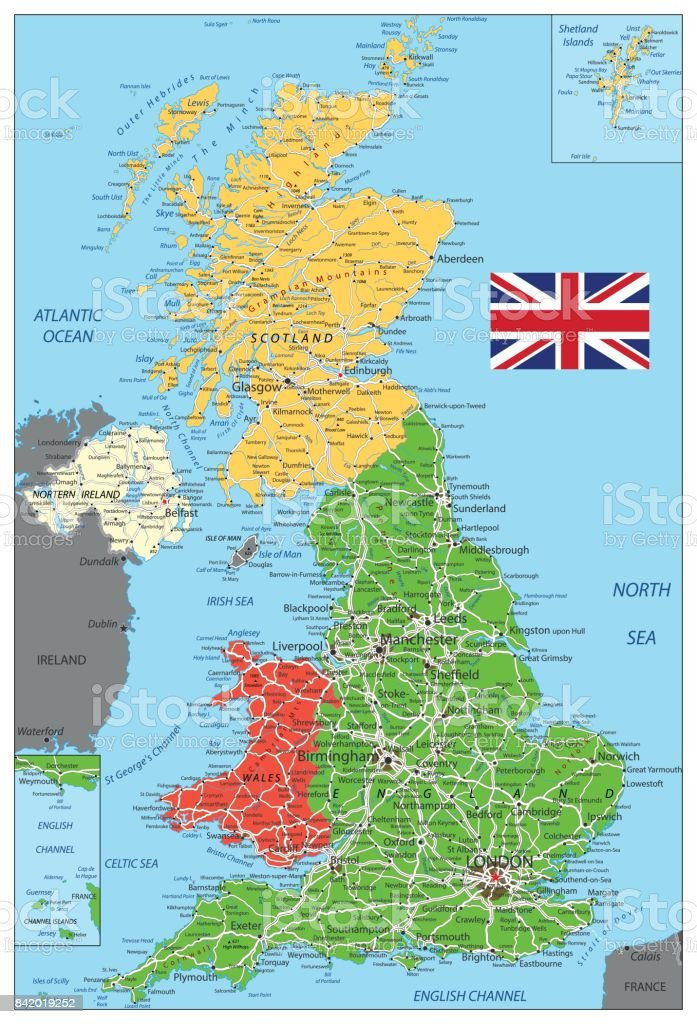 United Kingdom Political Map With Roads Stock Vector Art More