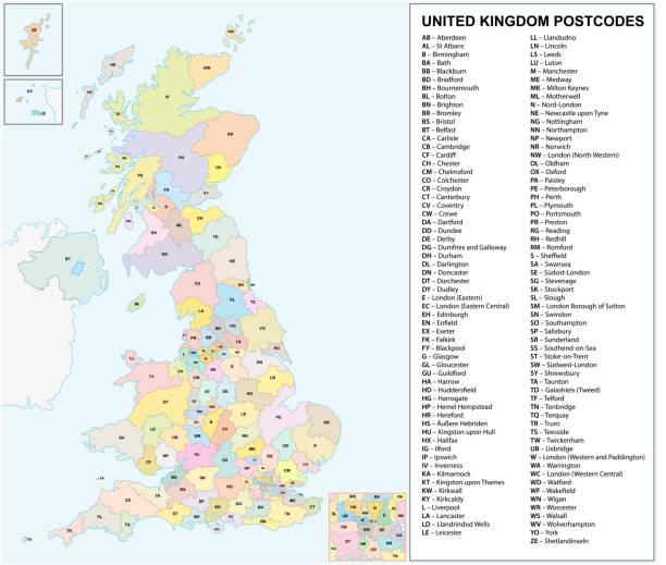 united kingdom Postcodes or postal codes vector map united kingdom Postcodes or postal codes vector map uk map stock illustrations