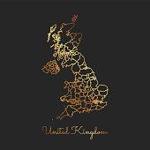 United Kingdom region map: golden gradient outline on dark background.