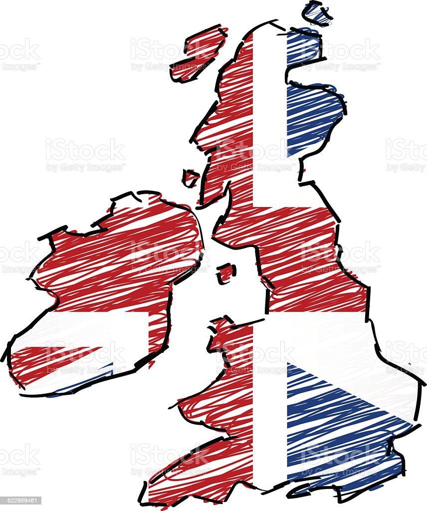 Ilustración de Reino Unido Bandera Scribbled Mapa y más banco de ...