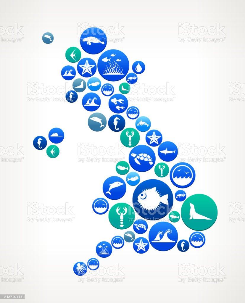 Ilustración de Reino Unido Mar Y De La Vida Marina Patrón De Botón y ...