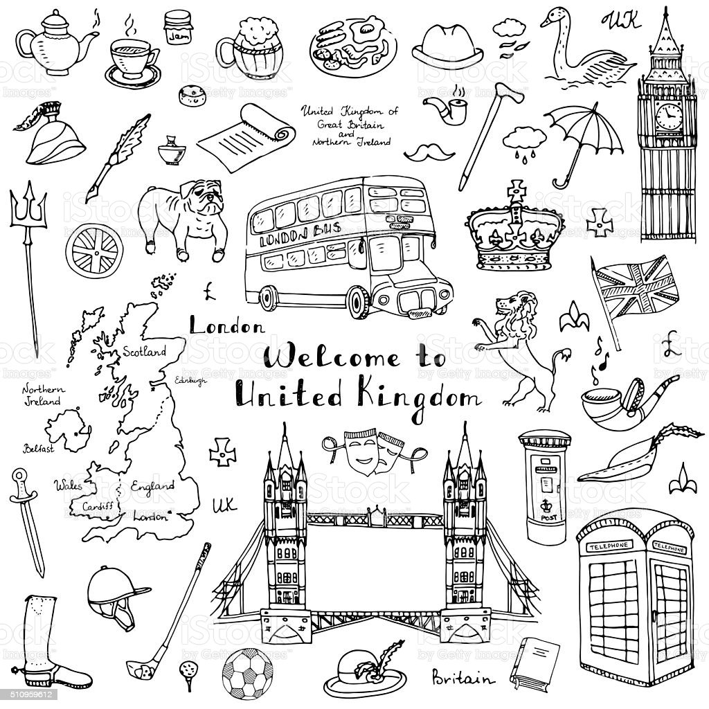 United Kingdom set vector art illustration
