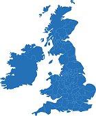 United Kingdom simple blue map on white background