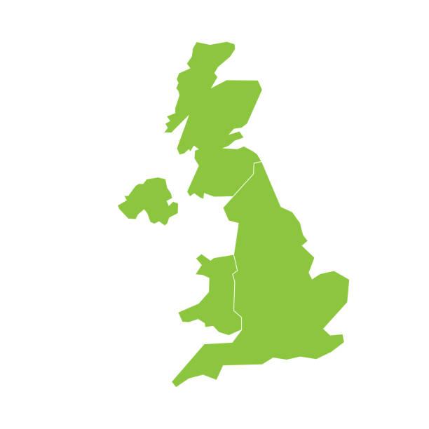 ilustrações, clipart, desenhos animados e ícones de mapa de portugal, reino unido, da grã-bretanha e irlanda do norte. dividido em quatro países - inglaterra, escócia e país de gales ni. ilustração em vetor plana verde simples - reino unido