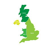 United Kingdom, UK, of Great Britain and Northern Ireland map. Divided to four countries - England, Wales, Scotland and NI. Simple flat vector illustration