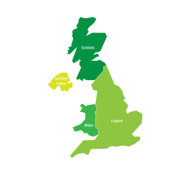 united kingdom, uk, of great britain and northern ireland map. divided to four countries - england, wales, scotland and ni. simple flat vector illustration - zjednoczone królestwo stock illustrations