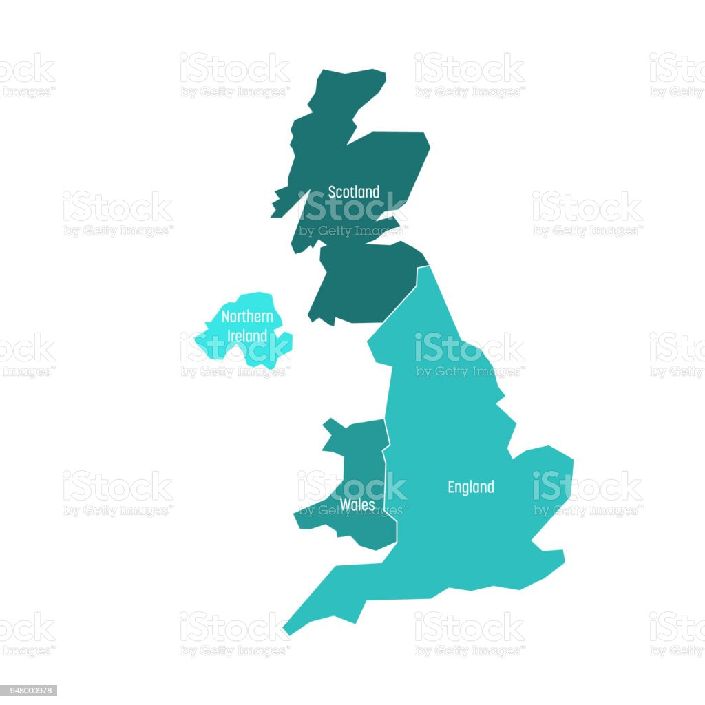 Map Of Ireland And Northern Ireland.United Kingdom Uk Of Great Britain And Northern Ireland Map Divided