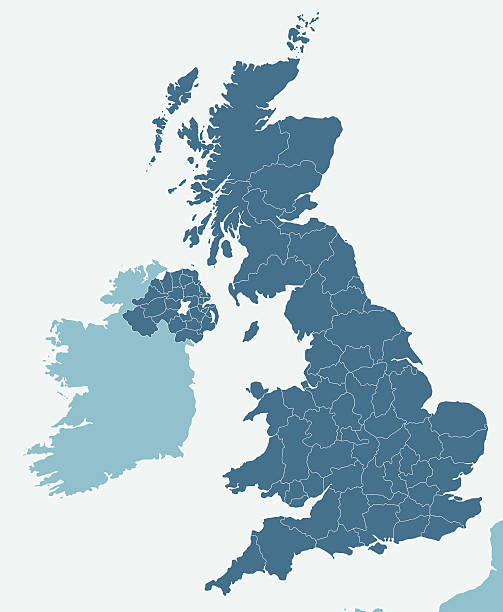 United Kingdom Very detailed United Kingdom map - easy to edit. uk map stock illustrations