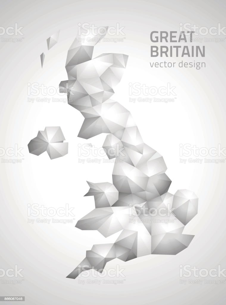 United Kingdom vector  mosaic grey and silver polygonal 3d map vector art illustration