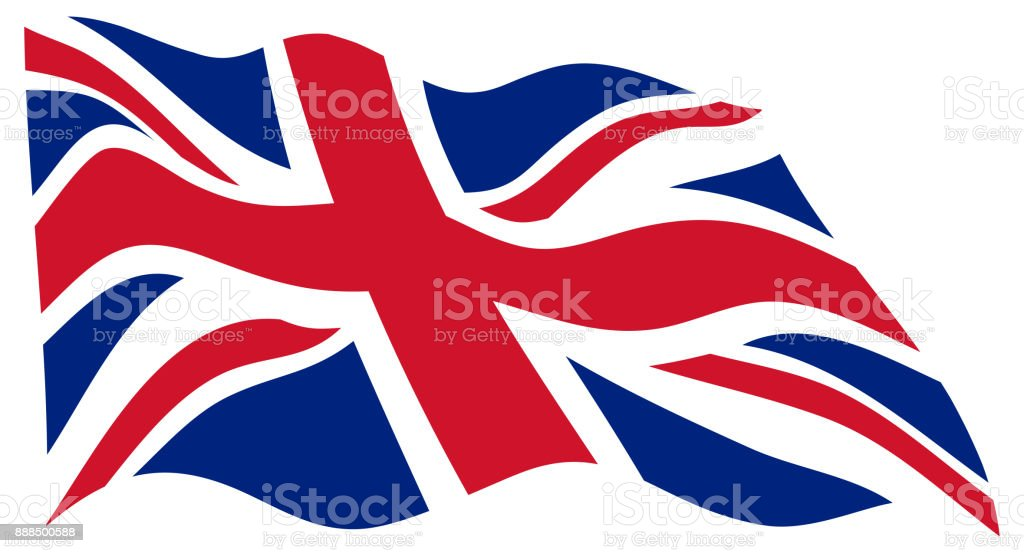 United Kingdom Wavy Flag In The Wind - Vector vector art illustration