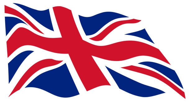 united kingdom wavy flag in the wind - vector - union jack flag stock illustrations, clip art, cartoons, & icons