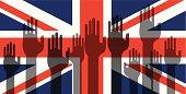 United Kingdon Flag with Volunteering Hands