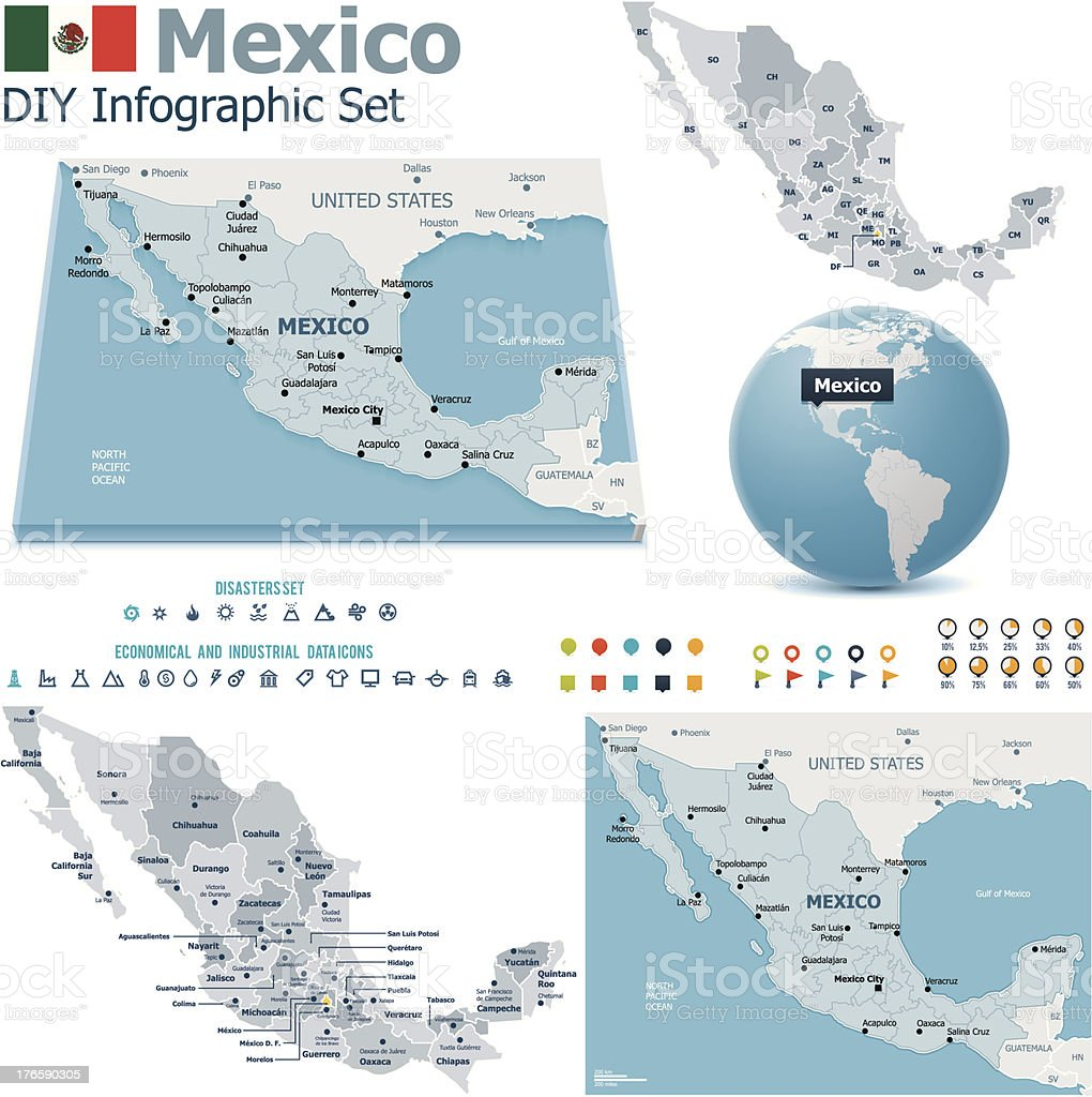 United Mexican States Maps With Markers stock vector art 176590305 ...
