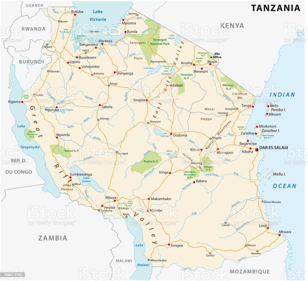United Republic Of Tanzania Road Vector Map Stock Illustration