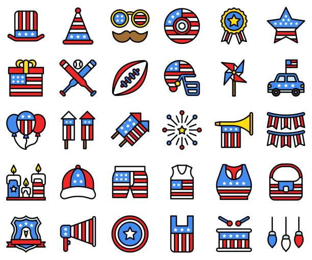 united state independence day filled icon set 2 - white house stock illustrations