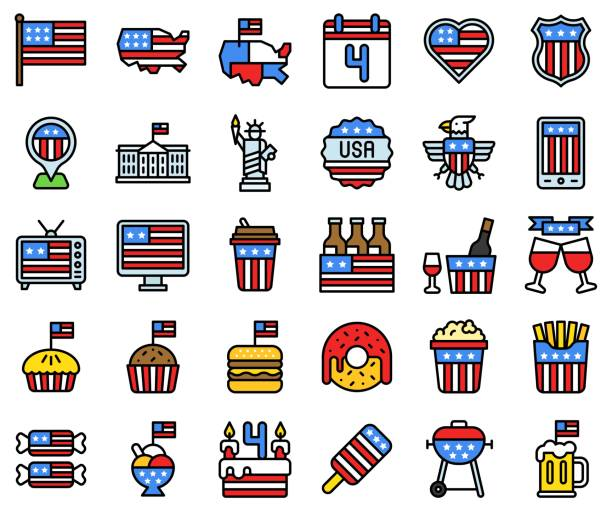 united state independence day filled icon set - white house stock illustrations