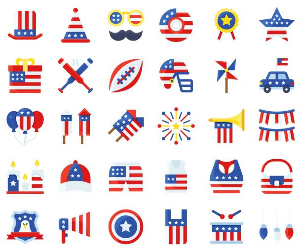 united state independence day flat icon set 2 - white house stock illustrations