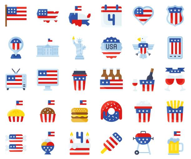 united state independence day flat icon set - white house stock illustrations