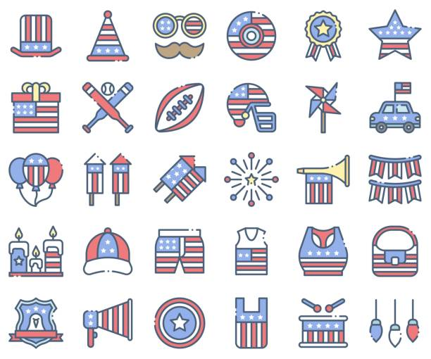 united state independence day icon set 2, omission style - white house stock illustrations