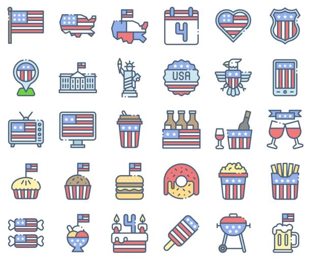 united state independence day icon set, omission style - white house stock illustrations