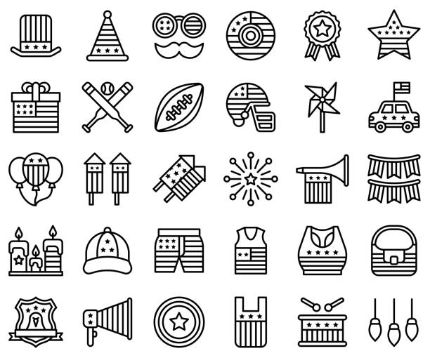 united state independence day line icon set 2 - white house stock illustrations