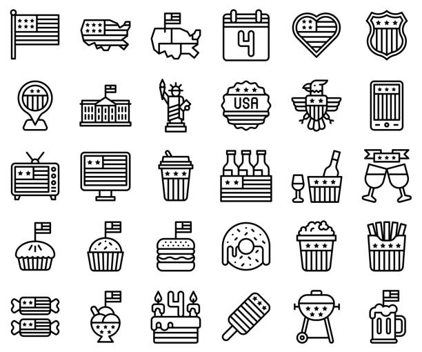 united state independence day line icon set - white house stock illustrations