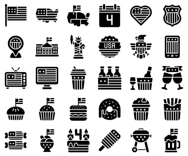 united state independence day solid icon set - white house stock illustrations