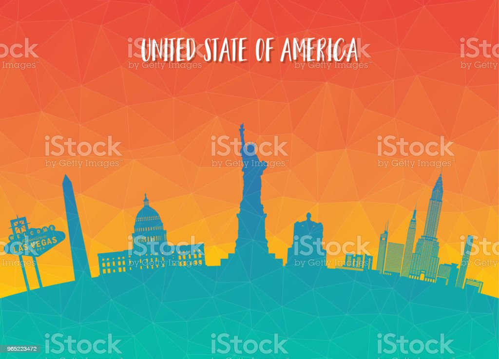 United state of america Landmark Global Travel And Journey paper background. Vector Design Template.used for your advertisement, book, banner, template, travel business or presentation. royalty-free united state of america landmark global travel and journey paper background vector design templateused for your advertisement book banner template travel business or presentation stock vector art & more images of architecture