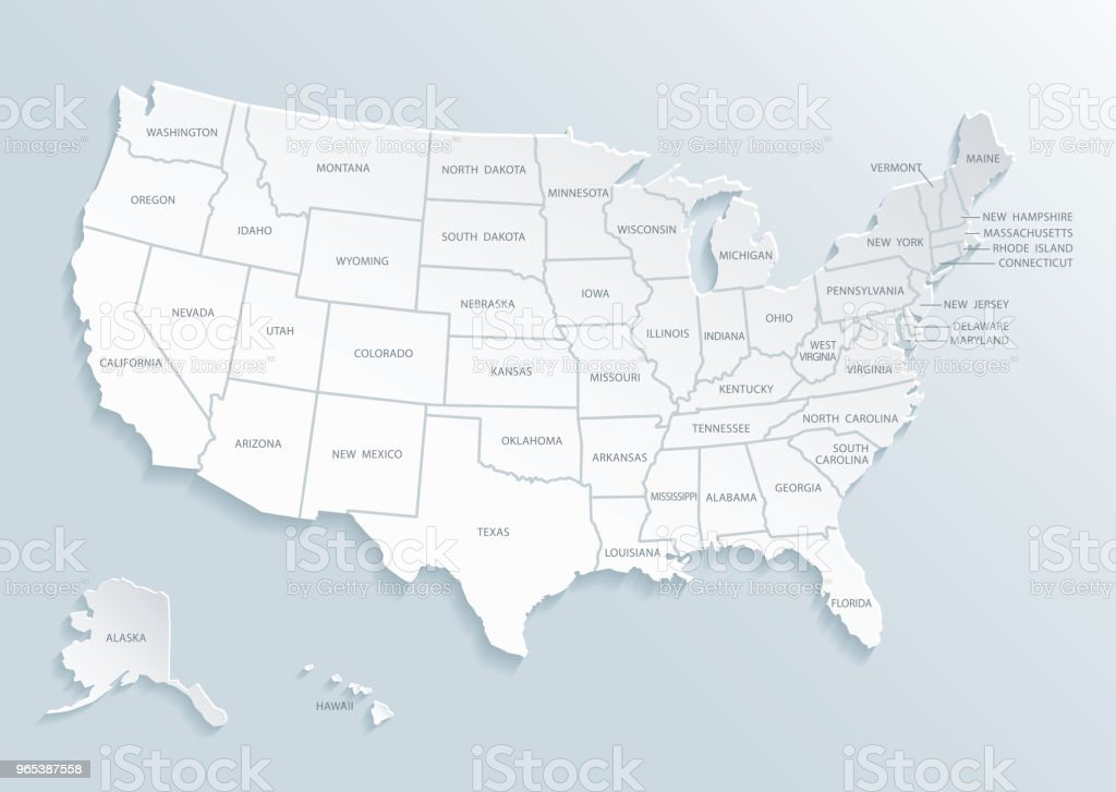 United State of America (U.S.A.) map with city names. vector art illustration