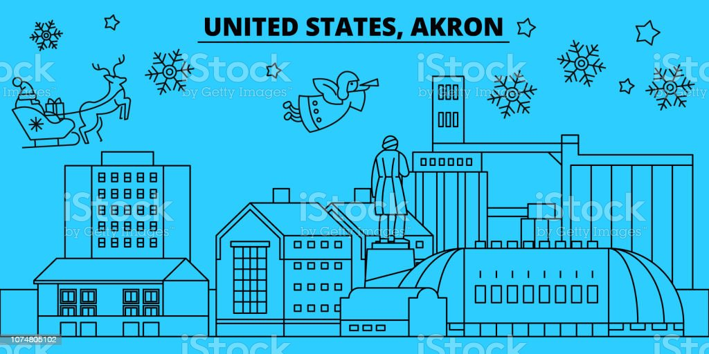 United States, Akron winter holidays skyline. Merry Christmas, Happy New Year decorated banner with Santa Claus.Flat, outline vector.United States, Akron linear christmas city illustration vector art illustration