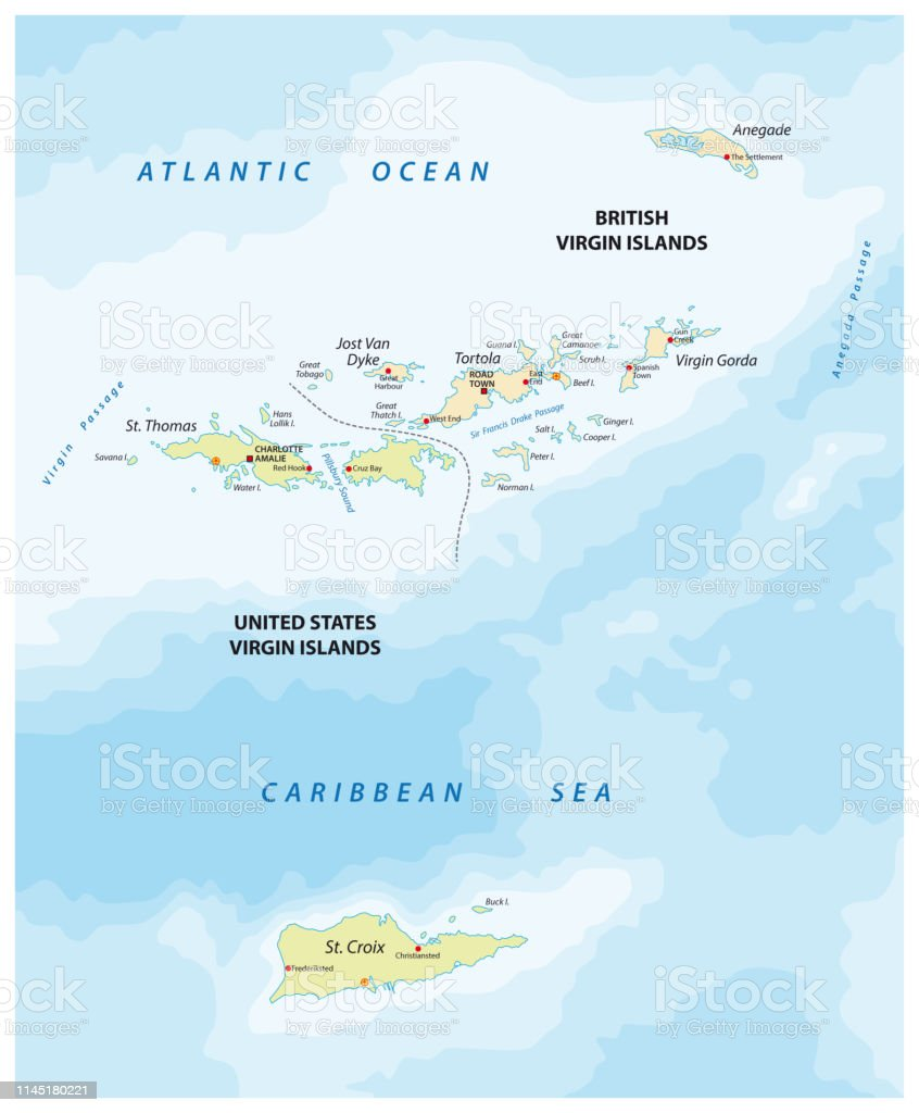 United States And British Virgin Islands Vector Map Stock ...