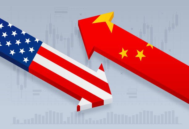 United States and China Trade Tariff Dispute United States and Chinese trade and tariff dispute trading deficit market. tariff stock illustrations