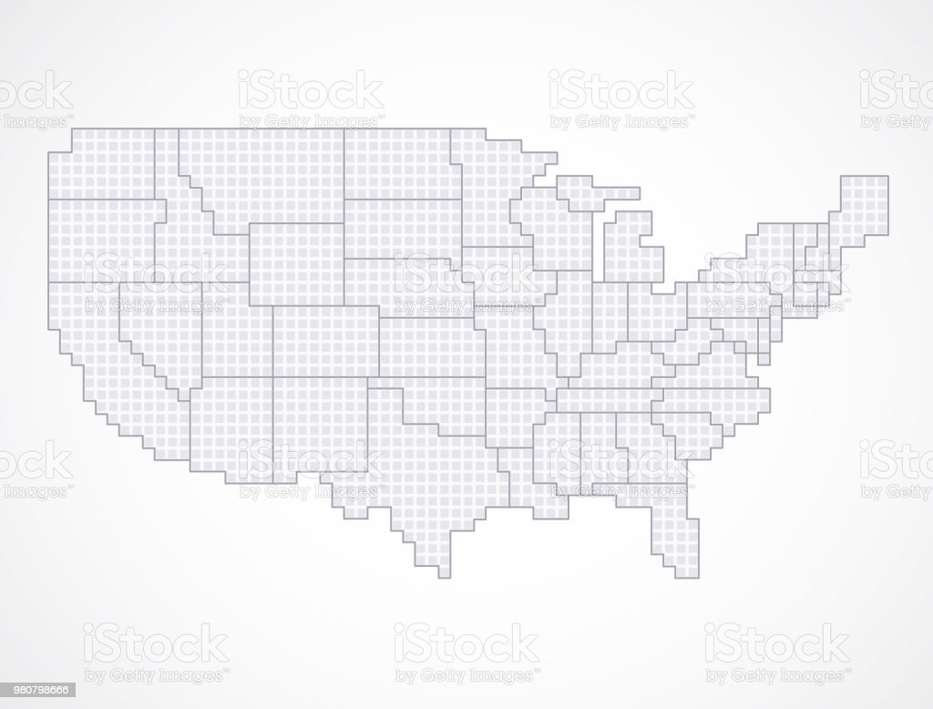 United States Blank Map With Borders Stock Vector Art & More Images ...