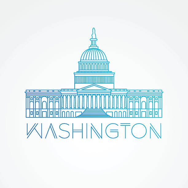 United States Capitol - detailed linear icon, Washington DC. Washington DC, detailed linear icon. Trendy vector illustration, flat style. United States Capitol - The symbol of US, white house stock illustrations