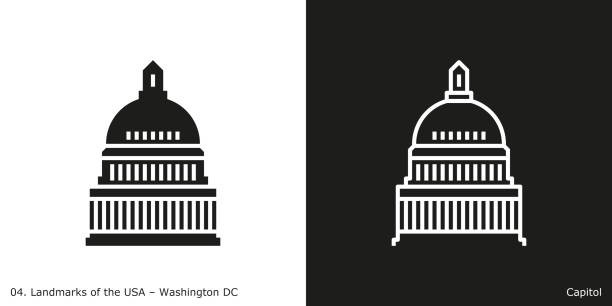 united states capitol icon - washington dc - abgeordnetenhaus stock-grafiken, -clipart, -cartoons und -symbole