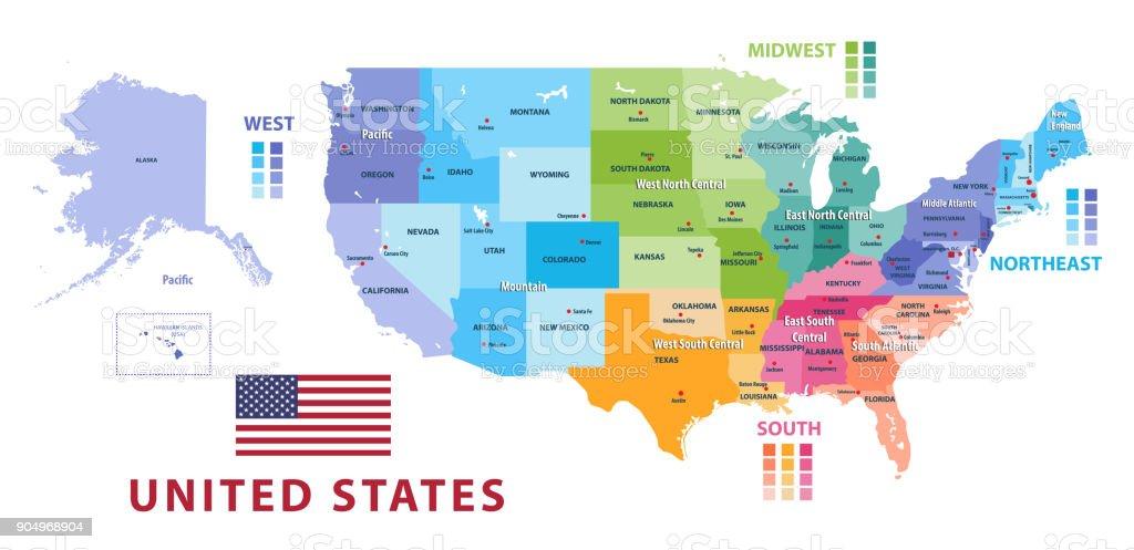 United States Census Bureau Regions And Divisions Vector Map Flag Of ...
