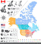United States census bureau regions ans divisions map; Canadian regions, provinces and territories map. Flags and location\navigation icons. All layers detachable and labeled. Vector