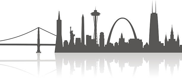 united states city landmarks profile - st louis stock illustrations