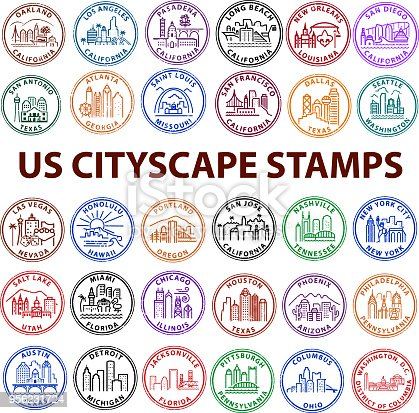 US Cityscape Stamps with distress look. High population US cities.