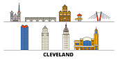 United States, Cleveland flat landmarks vector illustration. United States, Cleveland line city with famous travel sights, skyline, design.