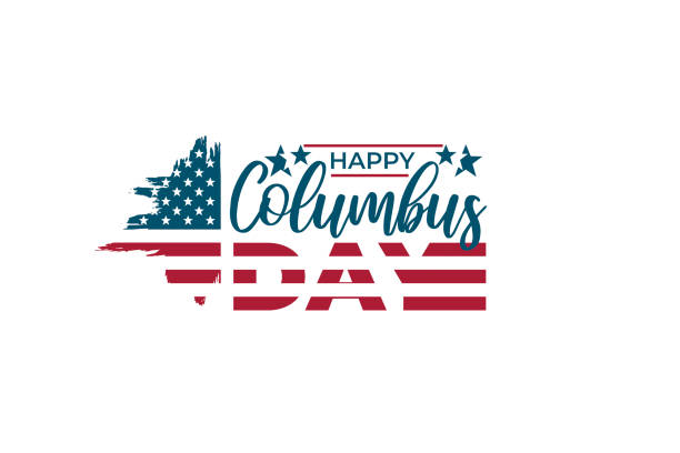 united states columbus day celebrate banner, poster. hand drawn brush stroke american flag on white background and text happy columbus day. usa national holiday vector illustration. - columbus day stock illustrations