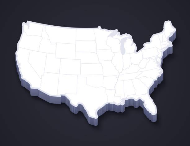 stockillustraties, clipart, cartoons en iconen met continentale 3d-kaart van verenigde staten - zuidoost