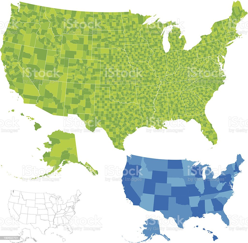 United States County Map vector art illustration